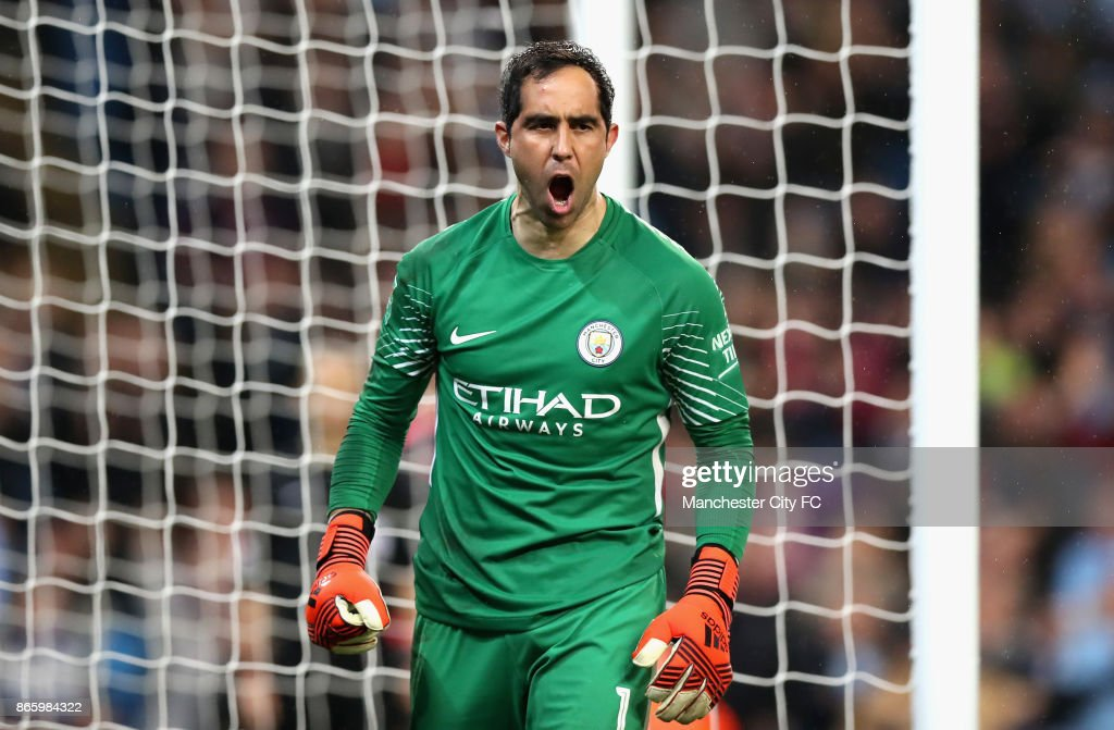 Claudio Bravo of Manchester City celebrates after making a save during the penalty shoot during the Carabao Cup Fourth Round match between Manchester City and Wolverhampton Wanderers at Etihad Stadium on October 24, 2017 in Manchester, England.