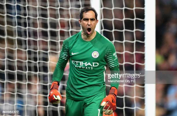 Claudio Bravo of Manchester City celebrates after making a save during the penalty shoot during the Carabao Cup Fourth Round match between Manchester...