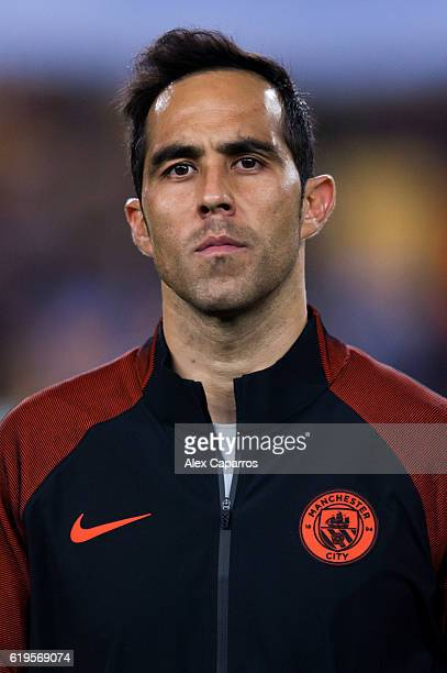 Claudio Bravo of Manchester City FC looks on before the UEFA Champions League group C match between FC Barcelona and Manchester City FC at Camp Nou...