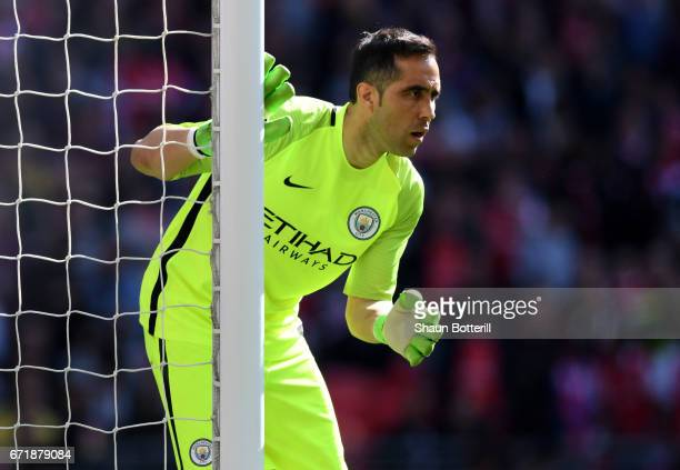 Claudio Bravo of Manchester City in action during the Emirates FA Cup SemiFinal match between Arsenal and Manchester City at Wembley Stadium on April...