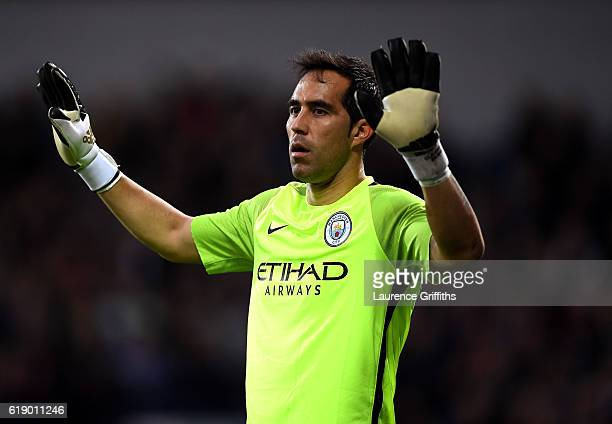 Claudio Bravo of Manchester City in action during the Premier League match between West Bromwich Albion and Manchester City at The Hawthorns on...