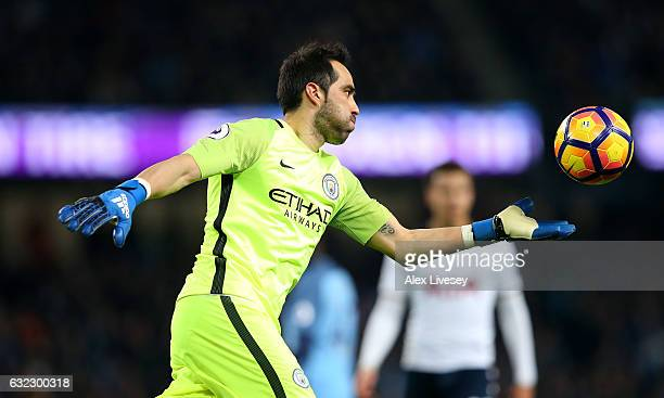 Claudio Bravo of Manchester City in action during the Premier League match between Manchester City and Tottenham Hotspur at the Etihad Stadium on...