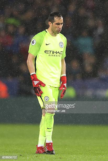 Claudio Bravo of Manchester City is dejected during the Premier League match between Leicester City and Manchester City at the King Power Stadium on...