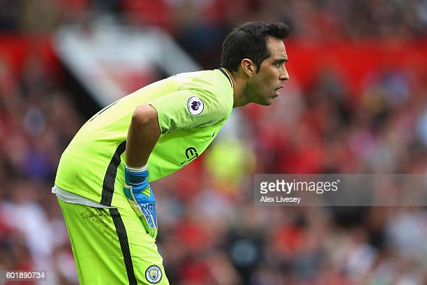 Claudio Bravo of Manchester City looks on during the Premier League match between Manchester United and Manchester City at Old Trafford on September...