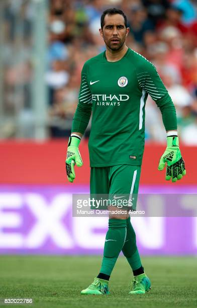 Claudio Bravo of Manchester City looks on during the preseason friendly match between Girona and Manchester City at Municipal de Montilivi Stadium on...