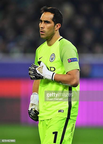 Claudio Bravo of Manchester City looks on during the UEFA Champions League match between VfL Borussia Moenchengladbach and Manchester City FC at...