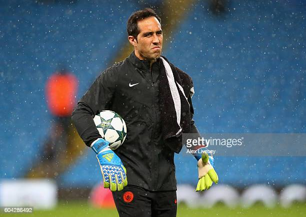 Claudio Bravo of Manchester City looks on prior to the UEFA Champions League Group A match between Manchester City FC and VfL Borussia...