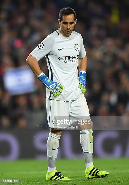 Claudio Bravo of Manchester City reacts after being sent off during the UEFA Champions League group C match between FC Barcelona and Manchester City...