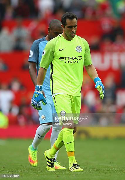 Claudio Bravo of Manchester City reacts during the Premier League match between Manchester United and Manchester City at Old Trafford on September 10...