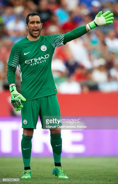 Claudio Bravo of Manchester City reacts during the preseason friendly match between Girona and Manchester City at Municipal de Montilivi Stadium on...