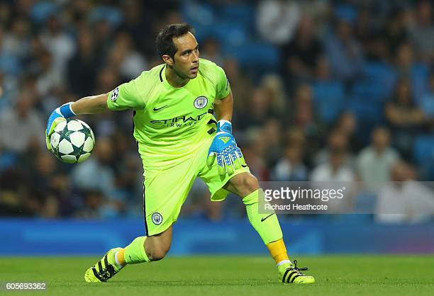 Claudio Bravo of Manchester City rolls the ball out during the UEFA Champions League match between Manchester City FC and VfL Borussia...