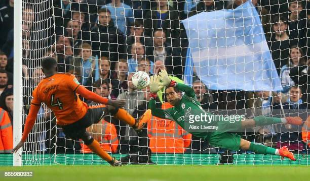 Claudio Bravo of Manchester City saves penalty during the Carabao Cup Fourth Round match between Manchester City and Wolverhampton Wanderers at...