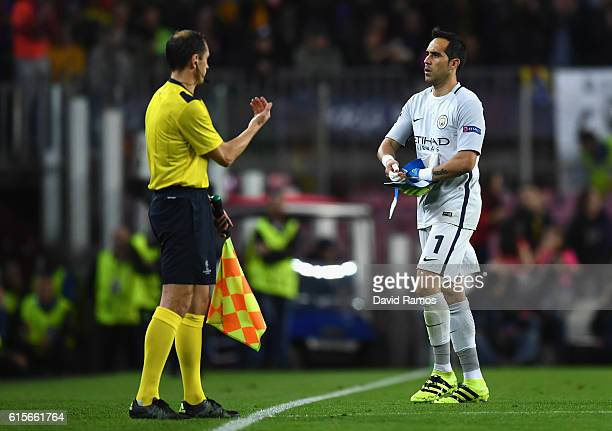 Claudio Bravo of Manchester City walks off the pitch after being sent off during the UEFA Champions League group C match between FC Barcelona and...