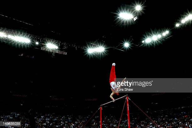 Claudio Capelli of Switzerland competes on the horizontal bar in the Artistic Gymnastics Men's Individual AllAround final on Day 5 of the London 2012...
