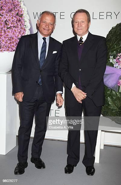 Claudio Casetti and Sergio Valente attend 'L'Arte Nell'Uovo Di Pasqua' Charity Event at the White Gallery on March 24 2010 in Rome Italy