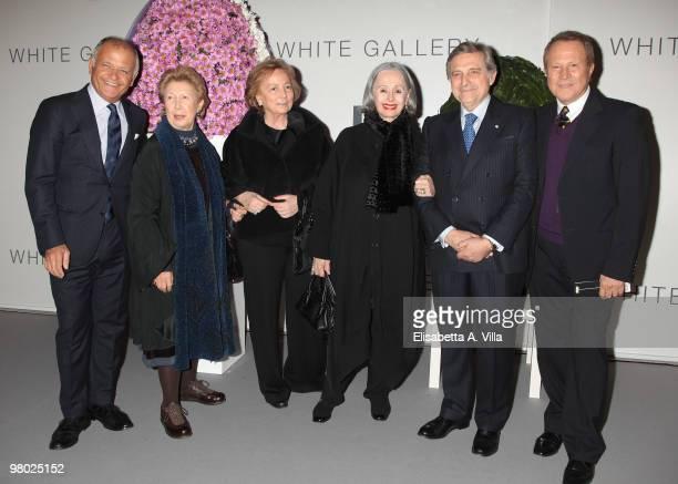 Claudio Casetti Franca Fendi a guest Paola Fendi Enzo Denaro and Sergio Valente attend 'L'Arte Nell'Uovo Di Pasqua' Charity Event at the White...