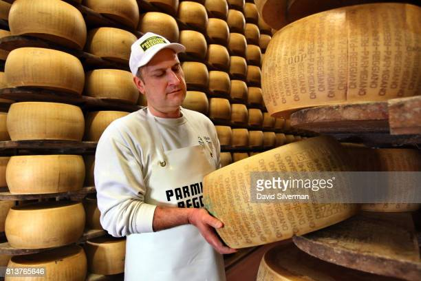 Claudio Censi owner and head cheesemaker at his family caseificio or dairy replaces a wheel of aged ParmigianoReggiano cheese to its shelf after...