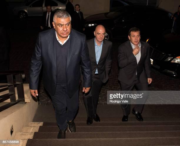 Claudio Chiqui Tapia president of AFA Gianni Infantino president of FIFA and Alejandro Dominguez president of CONMEBOL arrive to Park Hyatt Hotel as...