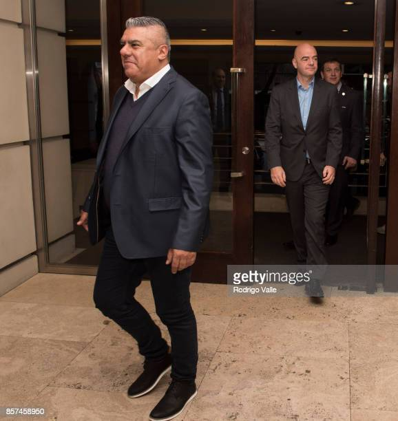 Claudio Chiqui Tapia president of AFA receives Gianni Infantino president of FIFA at Park Hyatt Hotel as part of an official visit to Buenos Aires to...