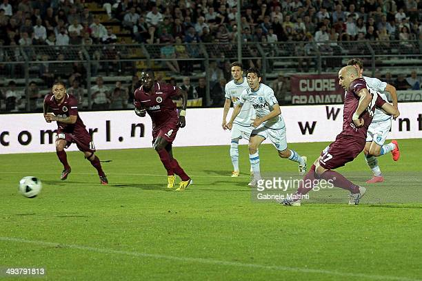 Claudio Coralli of AS Cittadella scores their fist goal during the Serie B match between AS Cittadella and Empoli FC at Stadio Partenio on May 25...