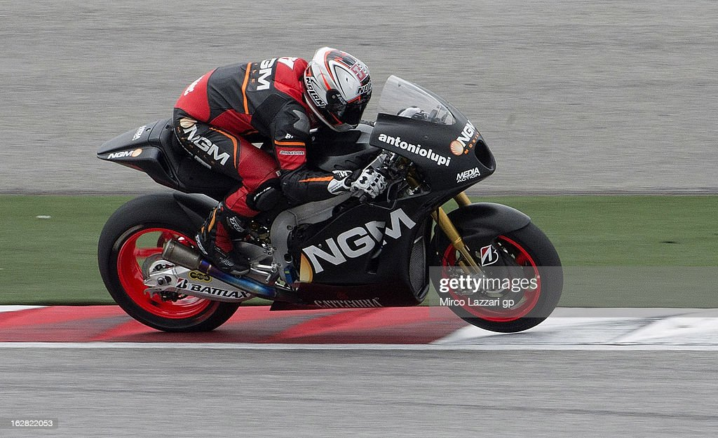 Claudio Corti of Italy and NGM Mobile Forward Racing heads down a straight during MotoGP Tests in Sepang - Day Three at Sepang Circuit on February 28, 2013 in Kuala Lumpur, Malaysia.