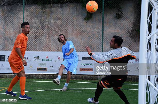Claudio Ferrarese in action during the Porto Cervo Summer 2015 Fiveaside Football Tournament Day One on June 23 2015 in Porto Cervo Italy