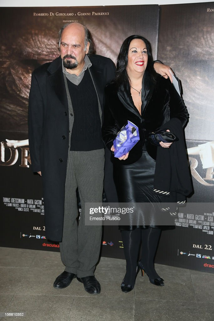 Claudio Fracasso and guest attend the 'Dracula in 3D' premiere at Cinema Barberini on November 21, 2012 in Rome, Italy.