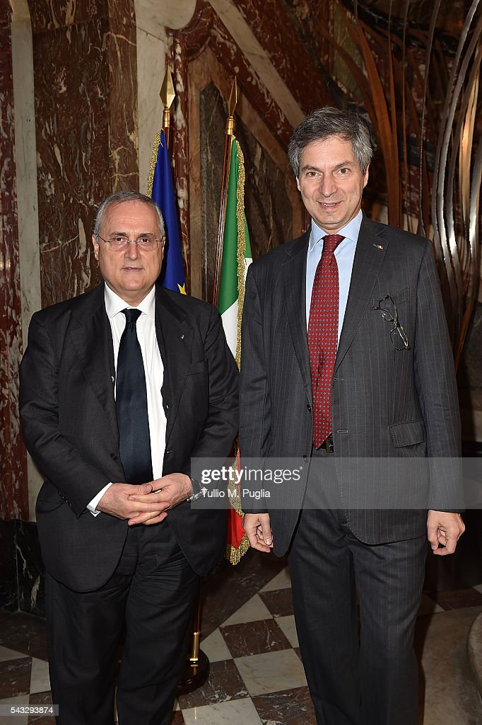 <a gi-track='captionPersonalityLinkClicked' href=/galleries/search?phrase=Claudio+Lotito&family=editorial&specificpeople=775770 ng-click='$event.stopPropagation()'>Claudio Lotito</a> and the Ambassador of Italy to France Giandomenico Magliano pose during at Embassy of Italy to France during Casa Azzurri on Tour on June 27, 2016 in Paris, France.