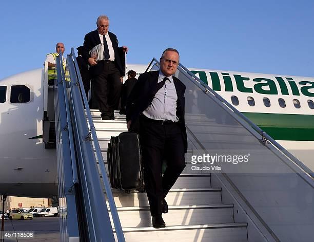 Claudio Lotito arrives in Malta ahead of Italy's EURO 2016 Group H Qualifier match against Malta on October 12 2014 in Malta Malta