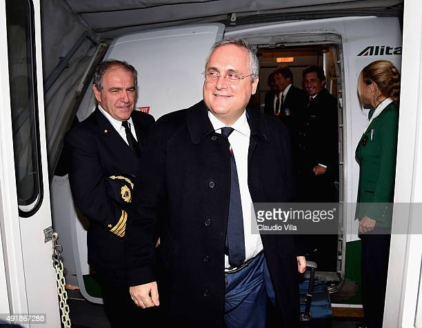 Claudio Lotito arrives to Baku Airport on October 8 2015 in Baku Azerbaijan