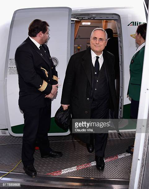 Claudio Lotito arrives to Munich Airport on March 28 2016 in Munich Germany