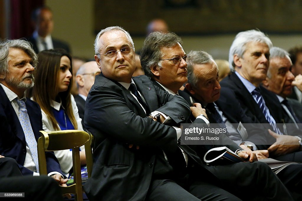 <a gi-track='captionPersonalityLinkClicked' href=/galleries/search?phrase=Claudio+Lotito&family=editorial&specificpeople=775770 ng-click='$event.stopPropagation()'>Claudio Lotito</a> attends the Italian Football Federation Annual Report at Palazzo Montecitorio on May 24, 2016 in Rome, Italy.