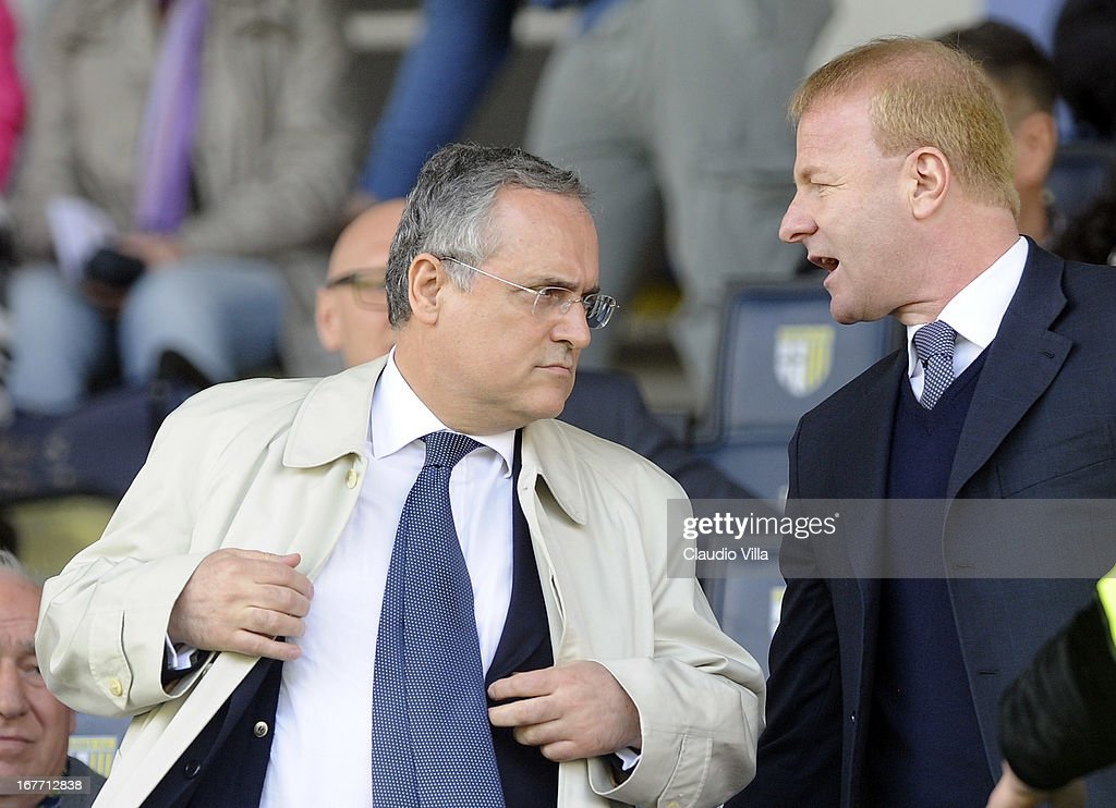 <a gi-track='captionPersonalityLinkClicked' href=/galleries/search?phrase=Claudio+Lotito&family=editorial&specificpeople=775770 ng-click='$event.stopPropagation()'>Claudio Lotito</a>, owner of S.S. Lazio and Igli Tare attend the Serie A match between Parma FC and S.S. Lazio at Stadio Ennio Tardini on April 28, 2013 in Parma, Italy.