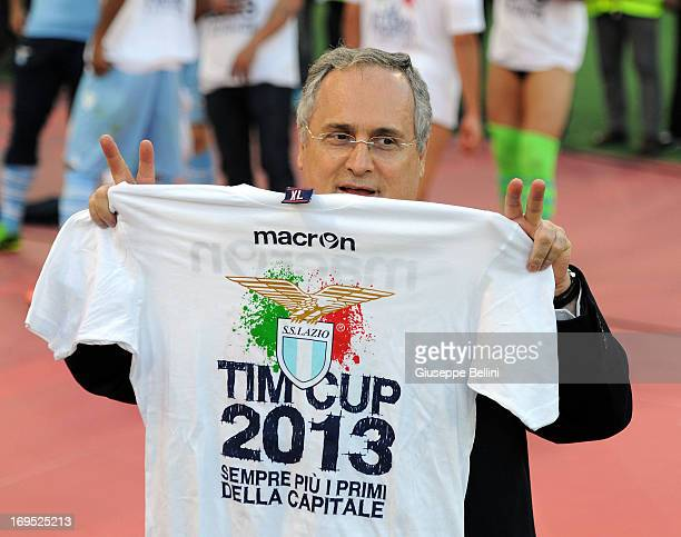Claudio Lotito President of Lazio celebrates the victory after the TIM cup final match between AS Roma v SS Lazio at Stadio Olimpico on May 26 2013...