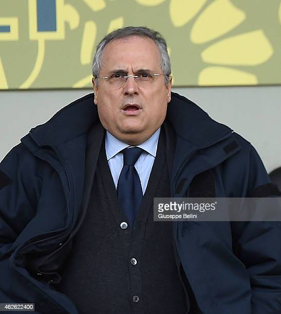 Claudio Lotito President of Lazio during the Serie A match between AC Cesena and SS Lazio at Dino Manuzzi Stadium on February 1 2015 in Cesena Italy