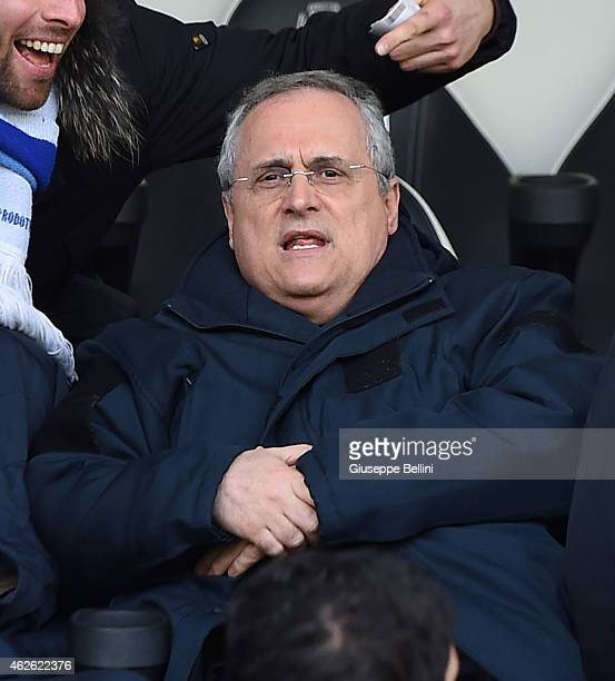 Claudio Lotito President of Lazio looks on during the Serie A match between AC Cesena and SS Lazio at Dino Manuzzi Stadium on February 1 2015 in...