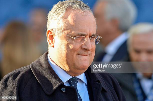 Claudio Lotito reacts during the Italian Serie A football match between SS Lazio and FC Genoa at the Olympic Stadium in Rome on november 20 2016
