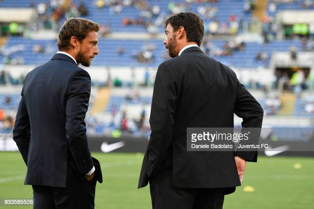 Claudio Marchisio and Andrea Agnelli during the Italian Supercup match between Juventus and SS Lazio at Stadio Olimpico on August 13 2017 in Rome...