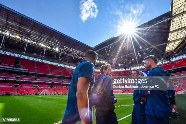 Claudio Marchisio and Andrea Barzagli during the Tottenham Hotspur v Juventus PreSeason Friendly match at Wembley Stadium on August 5 2017 in London...