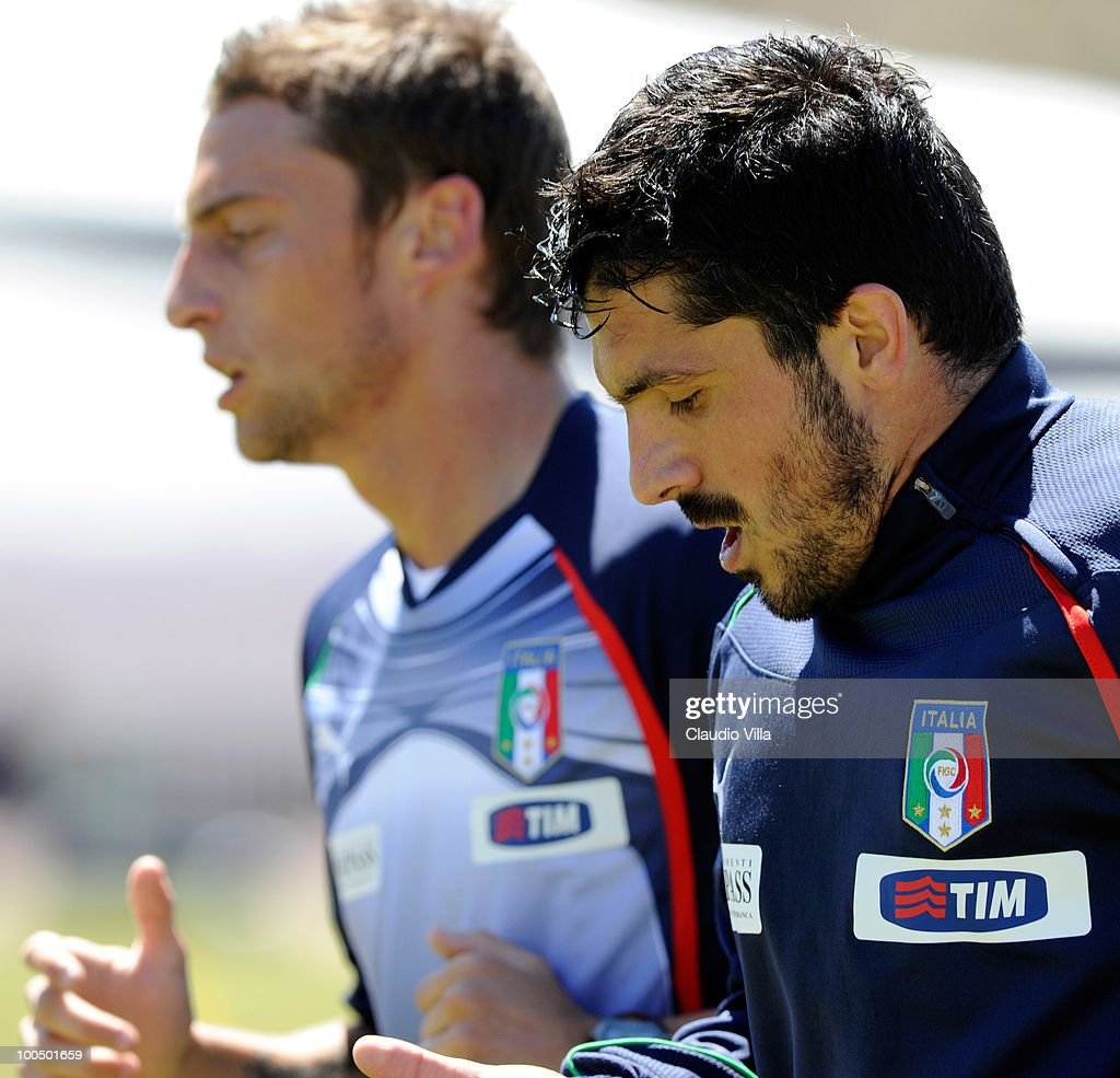 Claudio Marchisio and Gennaro Gattuso and Riccardo Montolivo of Italy during the Italy Training Session on May 25, 2010 in Sestriere near Turin, Italy.