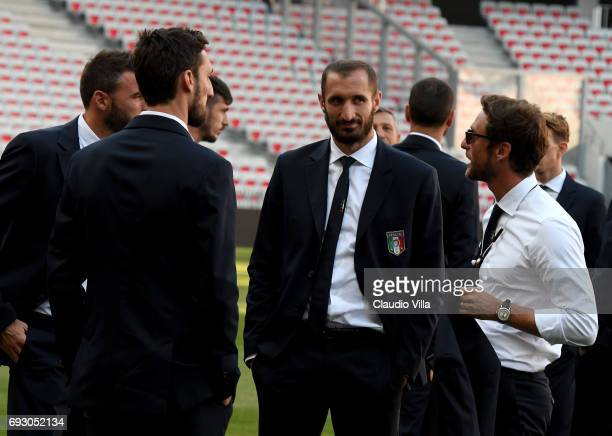 Claudio Marchisio and Giorgio Chiellini of Italy attend Italy walk around at Allianz Riviera Stadium on June 6 2017 in Nice France