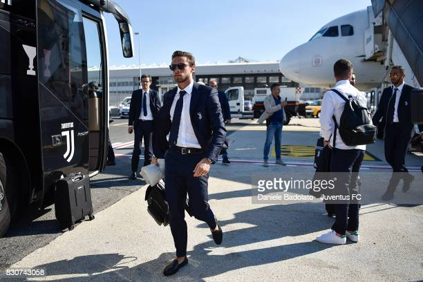 Claudio Marchisio during the travel to Rome ahead of the Italian Supercup at on August 12 2017 in Turin Italy