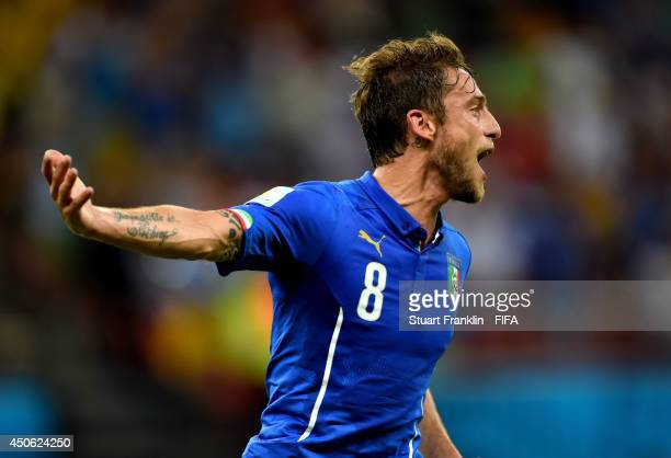 Claudio Marchisio of Italy celebrates after scoring the team's first goal during the 2014 FIFA World Cup Brazil Group D match between England and...