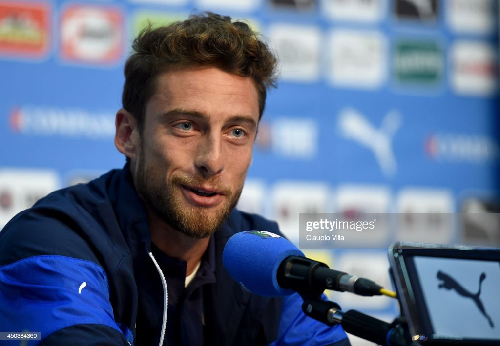 <a gi-track='captionPersonalityLinkClicked' href=/galleries/search?phrase=Claudio+Marchisio&family=editorial&specificpeople=4604252 ng-click='$event.stopPropagation()'>Claudio Marchisio</a> of Italy during press conference on June 10, 2014 in Rio de Janeiro, Brazil.