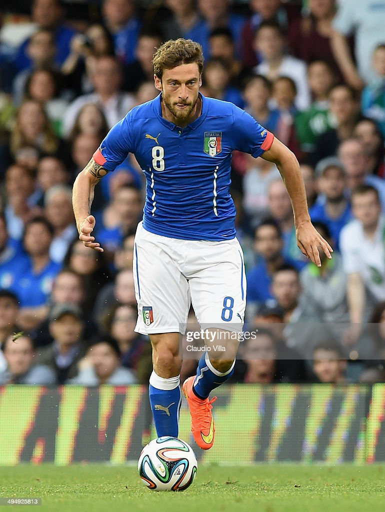 Claudio Marchisio of Italy in action during the International Friendly match between Italy and Ireland at Craven Cottage on May 30, 2014 in London, England.