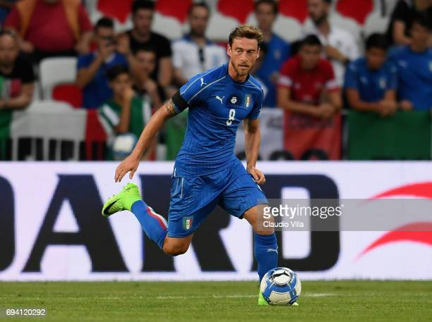 Claudio Marchisio of Italy in action during the International Friendly match between Italy and Uruguay at Allianz Riviera Stadium on June 7 2017 in...