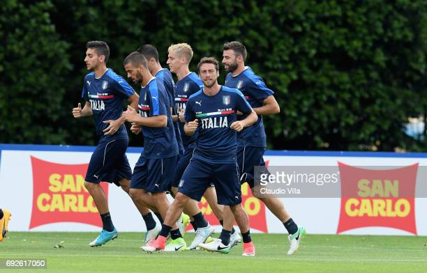 Claudio Marchisio of Italy in action during the training session at Coverciano at Coverciano on June 05 2017 in Florence Italy