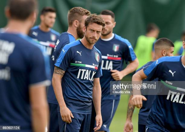 Claudio Marchisio of Italy looks on during the training session at Coverciano at Coverciano on June 05 2017 in Florence Italy