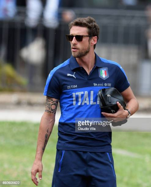 Claudio Marchisio of Italy looks on prior to the training session at Coverciano on June 05 2017 in Florence Italy