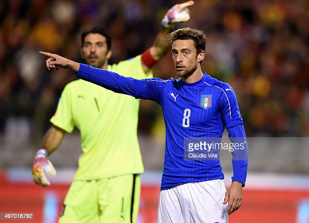 Claudio Marchisio of Italy reacts during the intermational friendly match between Belgium and Italy at King Baudouin Stadium on November 13 2015 in...